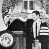 Kyhl Smeby congratulates ULV President Stephen Morgan in 1985 at Morgan's inauguration. Smeby was a member of the Board of Trustees from 1976 until his death. / file photo by Jim Black