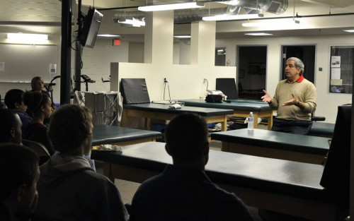 Tom Abdenour, head athletic trainer for the Golden State Warriors came to the University of La Verne campus Monday. He answered questions and told stories to students about his career, which includes 21 seasons with the Warriors. Abdenour also was the athletic trainer for the gold medal-winning USA men's basketball team at the Summer Olympics in 2000. Abdenour, who graduated from Wayne State University in Detroit, lives in San Leandro with his wife and three children. / photo by Erin Maxwell