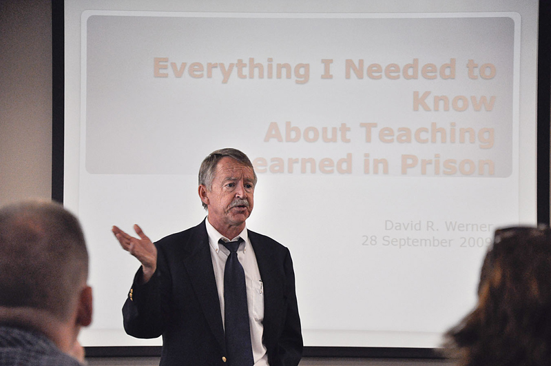 """David Werner, chairman of the English Department, spoke to a group of faculty and students Monday in the President's Dining Room. The title of his lecture was """"Everything I Needed to Know About Teaching I Learned in Prison."""" Werner told stories about his experiences while teaching in correctional facilities, and the impact these experiences had on him and his teaching methods. Werner first attended the University of Wisconsin but earned both his bachelor's and master's degrees from San Francisco State University. / photo by Erin Maxwell"""