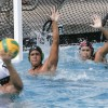 La Verne drowned the Gannon Golden Knights, 8-6, on Sunday at the Aquatics Center in Las Flores Park. Gannon's Greg Naranjo (No. 13) was unsuccessful in his attempt to score a goal against goalie Alan Nevarez and utility player John Roche in the second quarter. ULV won the match 8-5. La Verne's next match at the Aquatics Center will be Oct. 17 with the Redlands Bulldogs. / photo by Cindy Harder