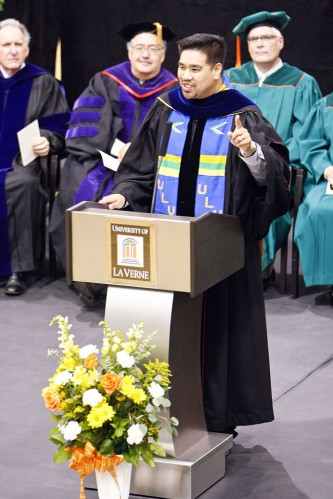 """Accountability, or Blame it on the Alcohol"" was the title of Jerome Garcia's convocation speech to ring in the new school year. It centers on the lack of responsibility many people take toward their own lives and toward the lives of others. Garcia, an associate professor of biology in the College of Arts and Sciences, graduated from the University of La Verne in 1998. He completed his doctorate at the University of Southern California. / photo by Rafael Anguiano"