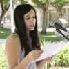 The Constitution of the United States was signed by 42 of the 55 delegates to the Constitutional Convention in Philadelphia 222 years ago. Junior Jazmin Barragan, a Spanish major, was one of many students, faculty and staff members who volunteered to read parts of the national contract on Sept. 17, the anniversary of that signing. / photo by Cindy Harder