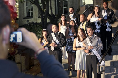 Posing for their classmates on the steps of Founders Hall Tuesday, Homecoming Court finalists include AnnMarie Francis, Roger Acevedo, Sami Cacchione, Naime Laskar, Christopher Weedon, John LeJay II, Ashley Dunn, Don Sortillon, Cathy Zech and Ryan Figgs. The members of the University's 2009 Homecoming Court were announced Monday. The Homecoming King and Queen will be crowned during halftime at the Homecoming football game at 1 p.m. Saturday. / photo by Rafael Anguiano