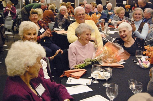 Hundreds of University of La Verne alumni reunited in the Campus Center ballroom Friday night for the annual alumni dinner. Most of the former students came to celebrate a 'decade' reunion, with classes as recent as 1999 present. Ruth Morgan, mother of President Steve Morgan, was honored as a representative of the class of 1936. Among her tablemates were Margaret Zook, Mildred Davis and Lena Coffman. / photo by Christopher Guzman