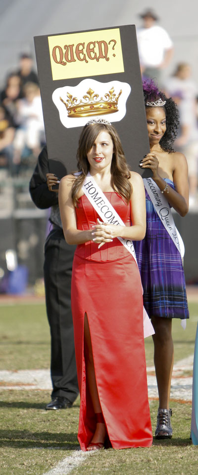 Samantha Cacchione was announced as 2009 Homecoming queen Saturday during halftime of the football game. A senior, Cacchione is a member of Phi Sigma Sigma and the ULV dance team, and is a political science major. / photo by Rafael Anguiano