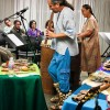 "Michael Heralda and his wife, Sandy, led a story-telling session Nov. 12. Heralda focused on the Mexican Aztec Culture by introducing the Aztec Nahuatl language and various hand-made musical instruments. Heralda performed for a crowded room, playing a flute called ""parkas,"" as his wife, Sandy plays the huehuetl drum. Heralda eventually invited his guests to play various instruments to create rhythmic music. The event took place in the President's Dining Room. / photo by Stephanie Arellanes"