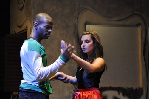 """Rick and the love of his life, Julia, are finally reunited after Rick defeats the vampire king. Little does he know that his lover, Julia, is about to deceive him. Anthony Lewis, who plays Rick in """"Eternity,"""" started his dancing career three years ago, and after only two years, decided to pursue it professionally. Julia, played by Samantha Cacchione, has been dancing on and off since an early age. The production was directed by Jordan Wycoff as her senior thesis, and written by her brother, Brian J. Lambert. / photo by Erin Maxwell"""