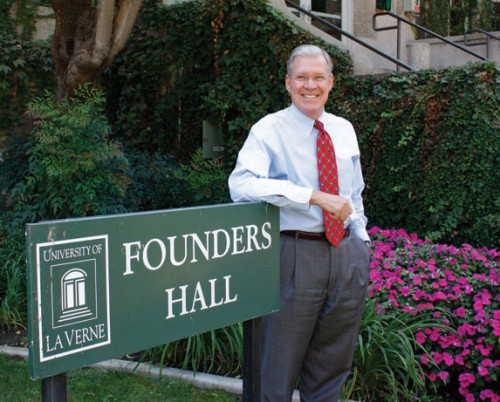 University President Steve Morgan stands in front of Founders Hall in this file photo from September 2008. Founders auditorium will be renamed the Ann and Steve Morgan Auditorium, after the president and his wife. Morgan announced his retirement, effective Spring 2011, from the University of La Verne on Thursday after serving as president for 25 years. / file photo by Stephanie Arellanes