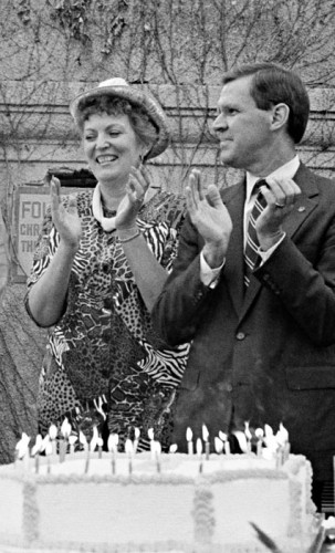 Myrna Wheeler and President Stephen Morgan participate in the University of La Verne's centennial celebration in 1991. Wheeler served on the Board of Trustees for nearly 25 years. / file photo by Ben Weybright