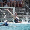 Lauren Shepard, freshman goalkeeper for La Verne, successfully blocks a shot attempt in the fourth quarter as La Verne's Elizabeth Roberts and Pomona-Pitzer's Perri Hopkins fight for position. The Sagehens topped the Leopards, 17-4, on Saturday at Haldeman Pool in Claremont. On Saturday La Verne will be back in action at 11 a.m. in a home contest against Whittier.