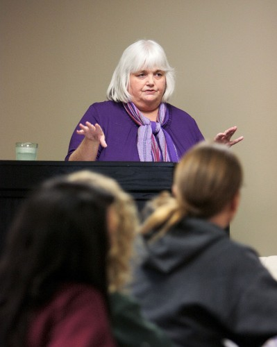 """Donna Bentley, reference-access services librarian and professor, delivers the lecture, """"Designing Web-Based Tutorials to Enhance Students' Research Skills"""" on Monday in the President's Dining Room. Bentley discussed new ways to assist students in research."""