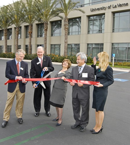There was a lot to smile about as members of the University of La Verne administration celebrated the grand opening of the new Orange County Regional Campus in Irvine. Provost Greg Dewey, President Steve Morgan, Vice President of Enrollment Homa Shabahang, Professor of Information Technology Mehdi Beheshtian and La Verne City Councilwoman Robin Carder kicked off ceremonies for the opening of the new campus. The Orange County Regional Campus features degrees in business administration, organizational management and public administration. / photo by Christopher Guzman