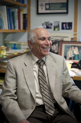 Ahmed Ispahani, professor of business administration and economics, was recognized for 40 years as a faculty member at the University of La Verne. Ispahani, who earned his undergraduate degree in economics at the University of Karachi, and both his master's and doctorate from USC, joined the faculty in 1964. Ispahani took a leave of absence in 1968 to serve as economic adviser for the Iranian government. He returned to La Verne in 1976. / photo by Nicholas Mitzenmacher