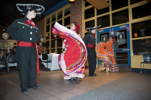 Chaffey High School dance club members Wendell Montague, Adriana Candelas, Joshua Magslang and Rosa Mota perform the Mexican hat dance at the 21st Annual Bienvenida Dinner on Saturday in Davenport Dining Hall. Live music was played throughout the night, and food was served for the event, hosted by the Latino Student Forum. / photo by Nicholas Mitzenmacher