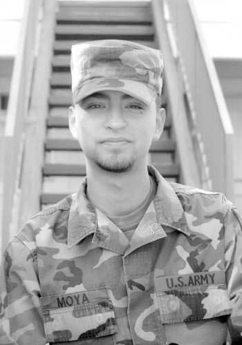 Private Sonny Moya of the United States Army joined the military as a means of supporting his college education. Moya said that he never thought any conflict would occur during his time of service, but his time in Kuwait proved he was wrong. Although Moya was recently released with an honorable discharge, his commitment to the U.S. Army still exists and he says he is ready and willing to go to Iraq if the Army needs him to go. Now that he is back at home, Moya plans to pursue an degree in oceanography. / photo by Jennifer Contreras