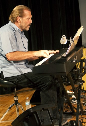 Monday night's jazz show featured Reed Gratz, professor of music, and his band of La Verne alumni musicians. Nine jazz compositions featured were all written by Gratz. The Jane Dibbell Cabaret Theater was filled with standing-room-only for the performance./ photo by Jakeh Landrum