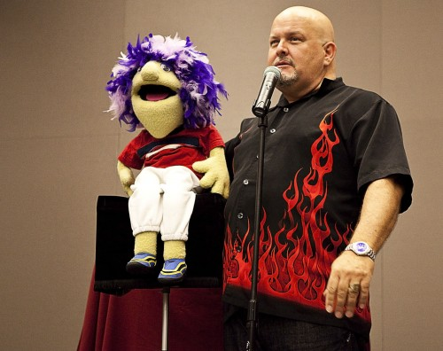 Ventriloquist Ian Varella, and his puppet friend Alfred provided some laughs in the Campus Center Ball Room in the CAB event on Wednesday night. Along with Alfred, Varella brought some other puppets along to entertain students. / photo by Garrett Gutierrez