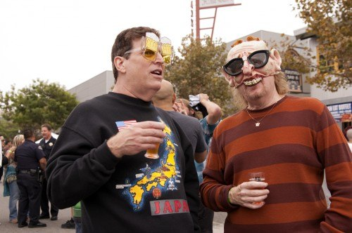 """Randy Levinson and """"Wild"""" Bill Cheny, members of Claremont rock band the Has-Bins, enjoyed their drinks at the California Beer Festival. / photo by Christopher Guzman"""