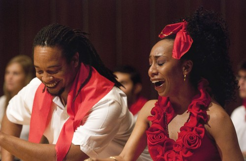 Juan Carlos Blanco and Kati Hernandez perform the rumba yambú, a traditional Cuban couples dance, in Lyman Hall at Pomona College. Blanco, born in Havana, had been performing professionally for 15 years before coming to the United States and has also founded his own Afro-Cuban music company Omo Aché. Hernandez, also a native of Cuba, has been dancing since age 9 and graduated from the Escuela National de los Artes, Havana's national school of art. / photo by Warren Bessant