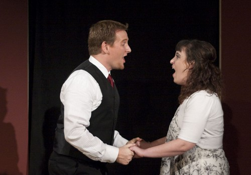 """Annie Curasi and James Ellis performed Jason Robert Brown's """"The Last 5 Years,"""" which opened Dec. 2 in the Jane Dibbell Cabaret. A one-act musical originally produced in Chicago in 2001, is a unique story about the failed relationship of the two characters, Jamie and Cathy. / photo by Scott Mirimanian"""