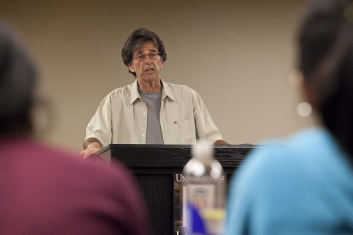 Ken Scambray, professor of English, spoke to students and faculty on Monday in the President's Dining Room. Scambray discussed Italian immigration and his family's journey to the Western United States at the turn of the 20th century. / photo by Garrett Gutierrez