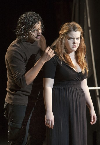 """Alvaro Renteria and Ariana Harris enact an emotionally intense scene from """"Richard III,"""" directed by Zach McGreen, as part of the theater department's final student directing projects. The students of Theater Arts 250 will be present their projects at 7:30 p.m. Friday and Saturday in the Jane Dibbell Cabaret Theatre. / photo by Jakeh Landrum"""