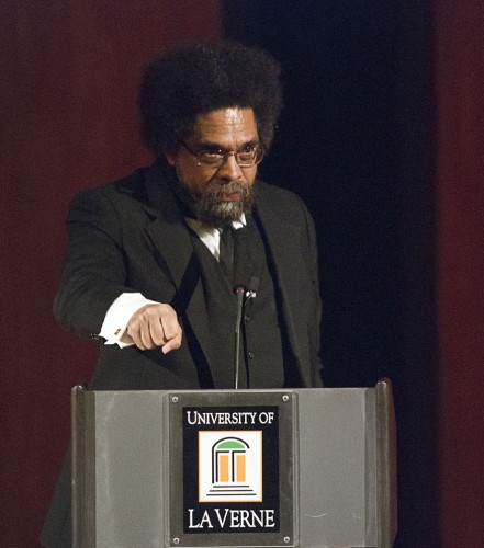 Cornel West, this year's Fasnacht Lecture Series Speaker, spoke on Friday in the Ann and Steve Morgan Auditorium. West spoke on the flawed nature of capitalism and the recent revolution in Egypt and courage, which he calls the enabling virtue. West's talk was the first given in the newly  remodeled auditorium. West, a best-selling author, has taught at Harvard, Yale, Harvard, Union Theological Sem­in­ary and the University of Paris. / photo by Warren Bessant