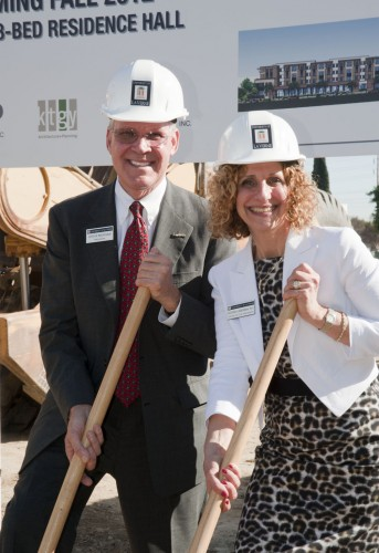 Construction began last week on the largest structure ever built on the University of La Verne campus. President Steve Morgan and President-Select Devorah Lieberman stand together linking the University of La Verne's past to its future as they participate in the groundbreaking of the new residence hall on March 31. The new residence hall, at D and Second streets, is due to open in the fall of 2012 and will have space for 387 students. University administrators hope the new dorm will attract residential undergraduate students. Lieberman was visiting as one of her monthly visits before she takes office July 1. / photo by David Bess