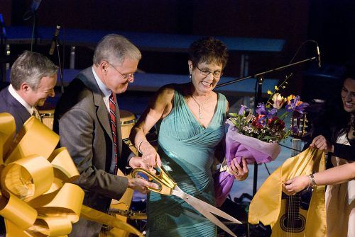 Ann and Steve Morgan cut the ribbon officially dedicating the Ann and Steve Morgan Auditorium Saturday. The Morgans have been longtime supporters of the University of La Verne, even before Steve Morgan became president in 1985. The renovation of the auditorium was funded partially by donors who specifically asked that the auditorium be renamed for the Morgans. Dedication week for the auditorium included numerous performances, speakers and other events. / photo by Warren Bessant