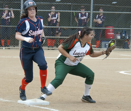 La Verne freshman first baseman Jackie Duran puts out Pomona-Pitzer freshman Lauren Boden in the Leopards' doubleheader against the Sagehens. The Leopards won both games on April 22 at Wheeler Park, the first, 4-3, and the second, 10-4. / photo by Warren Bessant