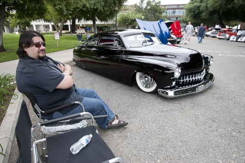 Austin Fuentes and his grandfather restored this 1950 Mercury Monterey L lowrider over a period of three years. Fuentes brought his Mercury to the Cool Cruise Car Show on Saturday in downtown La Verne. The judging panel offered awards for the best vehicles, a rockabilly band performed and vendors were set up to selling car-related items and food. / photo by Candice Salazar