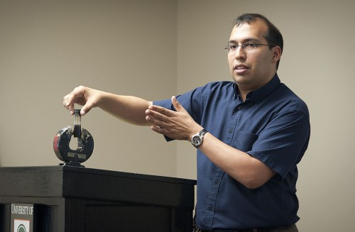 A potential weapon in the battle against ovarian cancer may be found in magnetic nanoparticles that would attract and trap cancer cells. Such is the technology being researched by Assistant Professor of Chemistry Ricardo Morales. His lecture on the synthesis and characterization of nanoparticles catalytic applications was held Monday in the Presidents Dining Room. / photo by David Bess