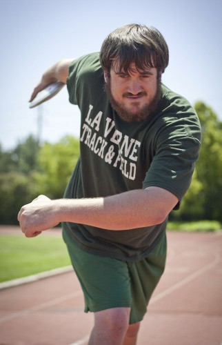 Kevin Brousard, a member of the track and field team, earned gold medals in both the shotput and discus at the International Blind Sports Federation World Games in Turkey. The junior radio broadcasting major and San Clemente native believes discus is his best event. / photo by Allison Lavelle