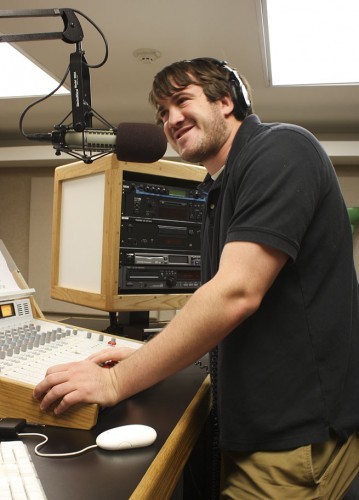 Kevin Brousard, a junior radio broadcasting major, will serve as the new LeoFM program director. Brousard has worked as sports director and music director on LeoFM. / photo by Victoria Castaneda