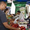 endors Karen Marquez and Rafael Corona do not stop moving for five hours serving customers every Sunday morning at the Claremont Farmers Market. They sell fresh grapes, peaches, nectarines, lemons, grapefruit and avocados from Atkins Nursery in Fallbrook. The market brings more than 100 growers and artisans sharing their products throughout the year./Zachary Horton