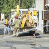 On Wednesday a contractor searching for a water line caused a gas line to burst behind Leo Hall. Southern California Gas Company employees started to dig using a hydraulic shovel attached to the back of their truck and finished the digging manually.  Watching over the work at the north end of the alley at Second Street is Campus Safety and Transportation Director Michael Nunez. The accident, which closed Leo Hall for several hours, was repaired by 3 p.m. / Zachary Horton