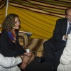 Inside a symbolic Saudi-Arabian tent in the Campus Center ballroom, President Devorah Lieberman and her husband Roger Auerbach are greeted by Issam Ghwazzawi, associate professor of management, and Marzook Alotaibi, Saudi Student Association vice president. The Saudi Arabia National Day Dinner attracted students from as far away as Cal State Long Beach State. / photo by Zachary Horton