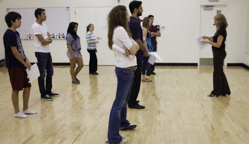 Dance instructor Sarah Grusmark teaches Contemporary Social Dance class, which includes country line dancing, West Coast swing, salsa, cha-cha and nightclub foxtrot. The one-unit class meets from 1:45 p.m. to 2:30 p.m. Tuesdays and Thursdays in room C 200 of the Athletics Pavilion. Grusmark has been teaching social dance at ULV for 10 years. / photo by Andrew Vasquez