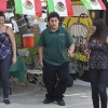 "Ibis Cordero, Ramon Montoya and Ana Hernandez dance in celebration of Mexican independence from Spain. The celebration traditionally begins with the ringing of a bell and the Mexican President shouting ""¡Vivá Mexico!"" at 11 p.m., at the National Palace in Mexico City. The Latino Student Forum hosted the fiesta in Sneaky park last Thursday. / photo by Scott Mirimanian"