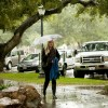 The first raindrops of the fall season arrived at the University of La Verne campus on Wednesday. While the rain grows stronger, criminology major Staci Saddoris walks south on C Street on her way to parking lot D to go home after class. / photo by Denisse Leung