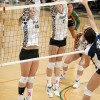 La Verne setter Kendal Kraiss and middle blocker Catie Logan block UC Santa Cruz outside hitter Bryce Meyer's attempt to return the ball. The Leopards salted the Banana Slugs on Saturday, winning all three games. / photo by Warren Bessant