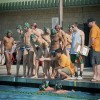 During a timeout in the third quarter Saturday, head coach Alex La lifts his team's spirit for their game against Chapman at Las Flores Park. La coaches both the men's and women's water polo teams, and played for La Verne himself in 2001 and 2002. / Cameron Barr