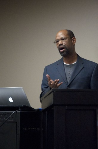 """Richard Rose, professor of religion and philosophy, discussed religious pluralism in African-American seminaries. He is currently working on a book titled """"20th Century African American Thinkers and Functional Pluralism."""" The Monday afternoon lecture, held in the President's Dining Room, was part of the faculty lecture series. / photo by Denisse Leung"""