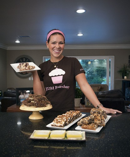 ULV student Jennifer Mikolasko, owner of JDM Bakeshop, displays some of her most popular pastries. After becoming a chef in Santa Monica, working for Susie Cakes in Brentwood and helping open a new Susie Cakes in Newport Beach, Mikolasko decided she wanted to work close to home and created JDM Bakeshop. She rents space in an existing bakeshop in Pasadena to fulfill her orders for clients. JDM Bakeshop can be found weekly at local farmers markets in Claremont and Rancho Cucamonga where her family helps sell pastries. / photo by Cameron Barr
