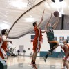 Caltech guard Michael Edwards attempts to block La Verne guard Jake Vieth. The Leopards won 69-52. The Leopards closed out the regular season Tuesday against Whitter with a loss. / photo by Warren Bessant