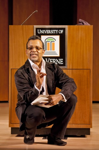 "Bishop Carlton Pearson, the senior pastor of New Dimensions Chicago, preaches the gospel of inclusion, which is the belief that all people will eventually see salvation. His 2010 book is titled ""God Is Not a Christian, Nor a Jew, Muslim, Hindu...."" In his March 22 lecture in Morgan Auditorium, Pearson explained that the terms faith and fear are often used interchangeably. He said the goal is to encourage debate and discussion about the place of religion in society today. / photo by Christian Uriarte"