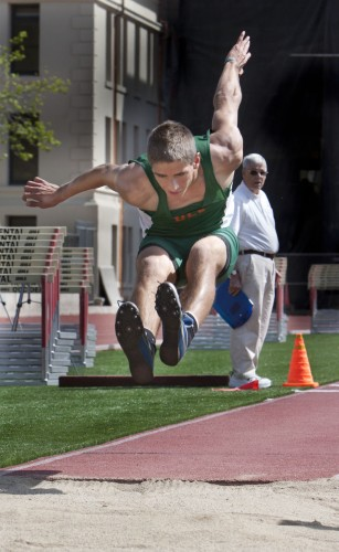 Freshman Nick St. Clair placed second in the triple jump against Redlands and Whittier on Saturday with a jump of 13.04 meters. / photo by Cassandra Egan