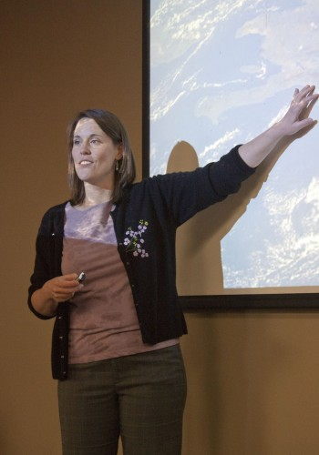 """Associate Professor of Biology Kathleen Weaver presented """"Inferring Colonization and Speciation through a Phylogenetic Analysis of Hispaniolan Limia Species"""" Monday in the President's Dining Room. She presented two research pieces. The first covered the biological geography of live bearing fish in the West Indies. The second was a study of the high levels of toxins present in snails in the water along the Clark Fork River, east of Missoula, Mont., near the University of La Verne Biology Department's research station. / photo by Brittney Slater-Shew"""
