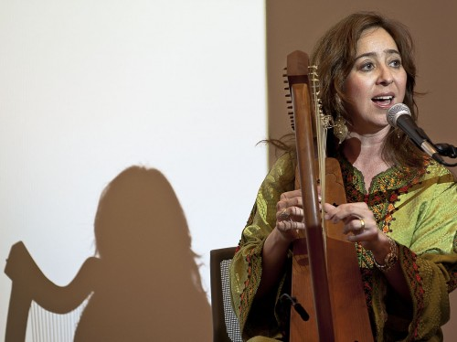 "Vanessa Paloma, an internationally known performer, scholar and lecturer, spoke Thursday in the Campus Center about Sephardic Jewish music and culture during the ""Golden Age,"" an era that witnessed the expulsion of Jews from Spain. The Sephardic Jewish culture emerges from Spanish, Portuguese, North African and Middle Eastern descendants. / photo by Cameron Barr"