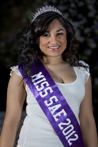 Miss SAE Pageant winner Lorena Sandoval is currently a cheer coach for the El Monte Young Champions and aspires to be a family lawyer. For the talent portion of the competition Sandoval wrote and performed a cheer about Sigma Alpha Epsilon. She has been a member of Alpha Omicron Pi since fall 2009. / photo by Debora Escobar